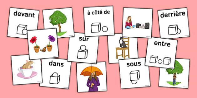 Prépositions jeu de cartes French Prepositions Matching Picture Cards - french, prepositions, matching, picture, cards
