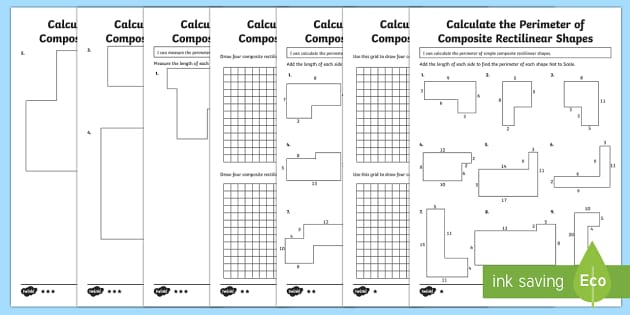 Year 5 Calculate the Perimeter of Composite Rectilinear Shapes Differentiated Activity Sheets