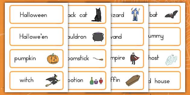 Halloween Word Cards - english, facts, writing, visual aid, display, ks1, ks2,