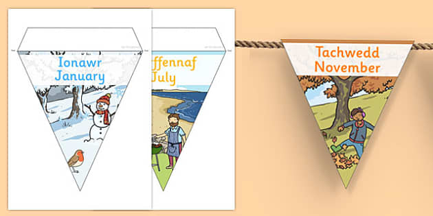 Months of the Year Display Bunting Cymraeg Translation - months of the year bunting, months of the year, months of the year on bunting, months bunting, months on bunting, months of the yearenglish, bounting