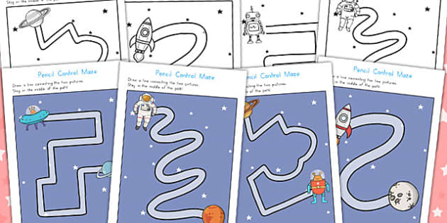 Space Themed Pencil Control Maze Worksheets - Worksheet, Motor