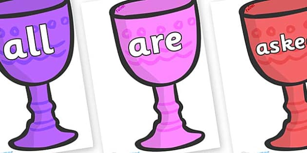Tricky Words on Goblets - Tricky words, DfES Letters and Sounds, Letters and sounds, display, words