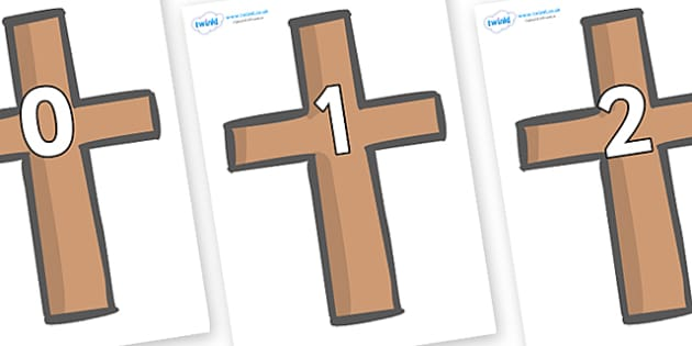 Numbers 0-50 on Crosses - 0-50, foundation stage numeracy, Number recognition, Number flashcards, counting, number frieze, Display numbers, number posters