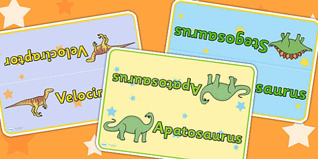Dinosaur Themed Table Signs - dinosaurs, signs, labels, history