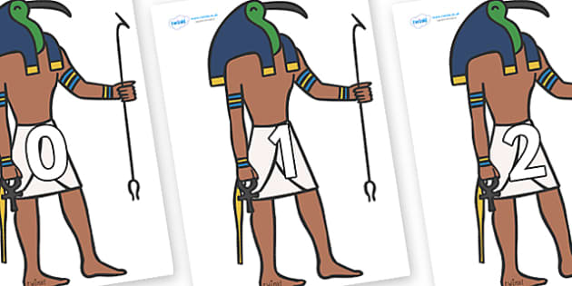 Numbers 0-100 on Egyptian Gods - 0-100, foundation stage numeracy, Number recognition, Number flashcards, counting, number frieze, Display numbers, number posters