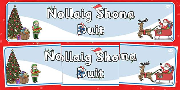 Happy Christmas Singular Banner Gaeilge - gaeilge, happy christmas, singular, banner, display