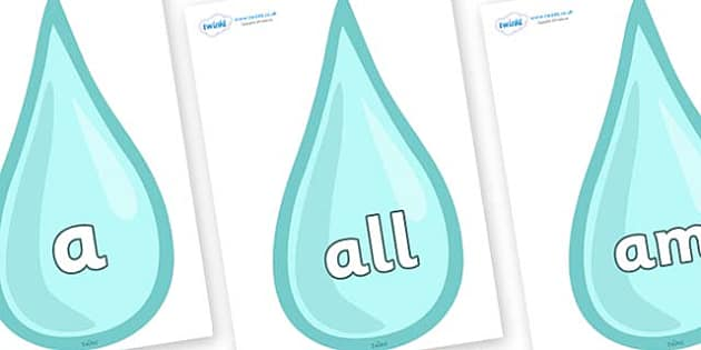 Foundation Stage 2 Keywords on Water Drops - FS2, CLL, keywords, Communication language and literacy,  Display, Key words, high frequency words, foundation stage literacy, DfES Letters and Sounds, Letters and Sounds, spelling