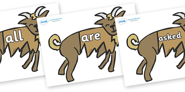 Tricky Words on Little Billy Goat Gruff - Tricky words, DfES Letters and Sounds, Letters and sounds, display, words