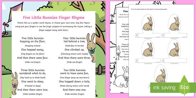 Five Little Bunnies Finger Rhyme - spring, bunnies, rabbits, rhyme, five little bunnies, five