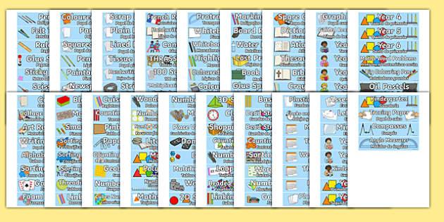 Classroom Equipment Tray Labels English/Spanish - spanish, labels, tray labels, classroom equipment, class, classroom, sign