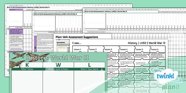 PlanIt - History LKS2 - World War II Unit Assessment Pack - assessment, summative, final, targets, world car 2, second world war, jigsaw targets, KWL grid.