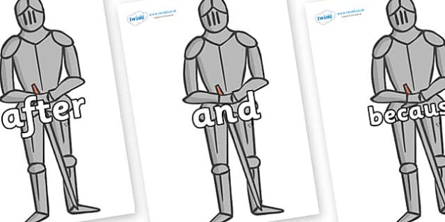 Connectives on Suits of Armour - Connectives, VCOP, connective resources, connectives display words, connective displays