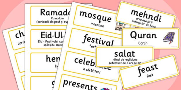 Eid Topic Words Romanian Translation - romanian, eid, words, word cards, topic