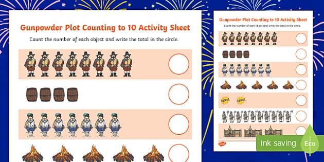 Gunpowder Plot Counting to 10 Activity Sheet, worksheet