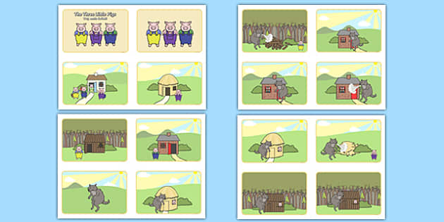 The Three Little Pigs Story Sequencing 4 per A4 Polish Translation - polish, the three little pigs, three little pigs story sequencing, three little pigs story, 3 little pigs, story