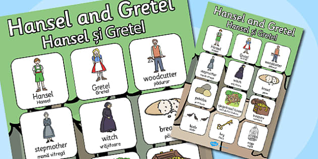 Hansel Gretel Vocabulary Poster Romanian Translation - romanian
