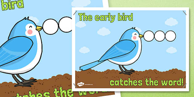 The Early Bird Catches the Word Poster - australia, early bird, poster