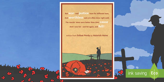Remembrance Day Enfant Perdu Quote - display poster, display, poster, poem, poetry, 30 year war, remembrance day, enfant perdu, quote, verse, extract
