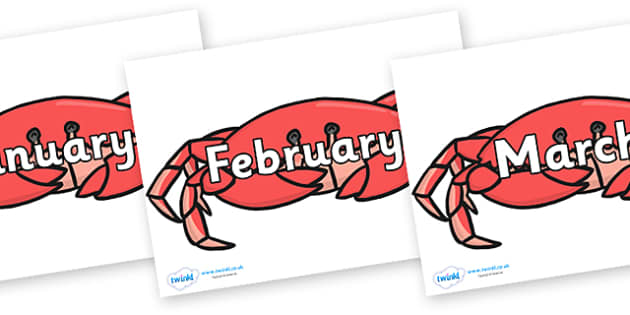 Months of the Year on Crabs - Months of the Year, Months poster, Months display, display, poster, frieze, Months, month, January, February, March, April, May, June, July, August, September