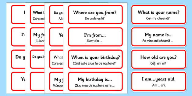 Basic Phrases Word Cards Romanian Translation - romanian, basic phrases, word cards, word, cards, basic, phrase