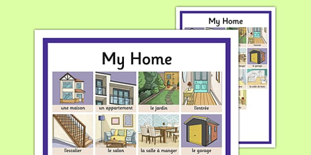 My Home Word Grid French - french, home, houses and homes, house, my home, word grid
