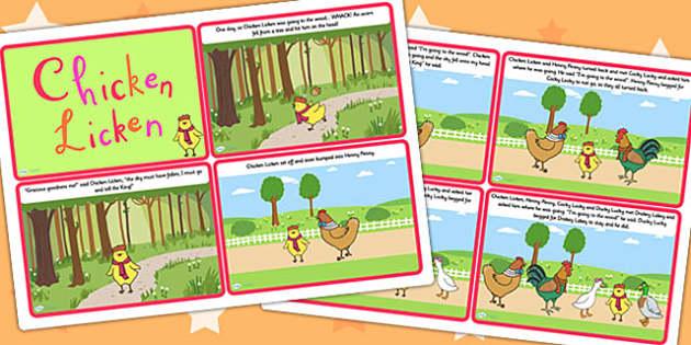 Chicken Licken Story Cards - chicken licken, stories, visual aid