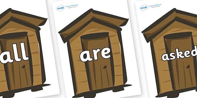 Tricky Words on Sheds - Tricky words, DfES Letters and Sounds, Letters and sounds, display, words