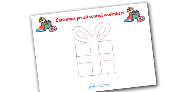 Christmas Present Themed Pencil Control Worksheets - christmas