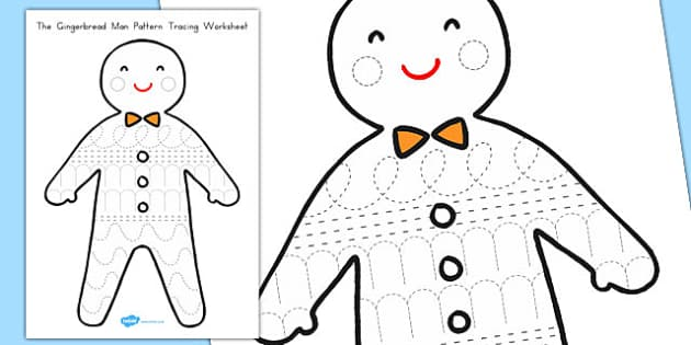 The Gingerbread Man Pattern Tracing Worksheet - australia, fine motor, writing, mark, making, pencil, control