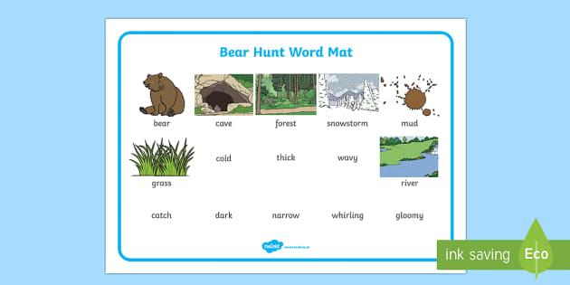 Bear Hunt Word Mat (Images) - bear hunt, word mat, images, mat