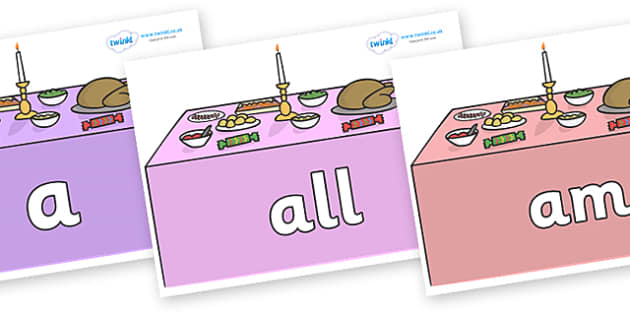 Foundation Stage 2 Keywords on Christmas Dinner (Tables) - FS2, CLL, keywords, Communication language and literacy,  Display, Key words, high frequency words, foundation stage literacy, DfES Letters and Sounds, Letters and Sounds, spelling
