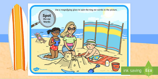 Phase 5 ew Words Beach Scene Magnifying Glass Activity Sheet - phonics, letters and sounds, phase 5, ew sound, magnifier, magnifying glass, find, activity, group,