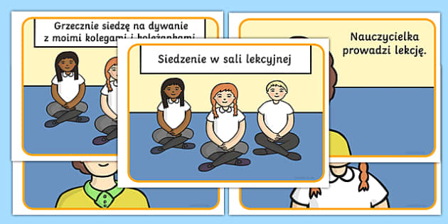 Social Story About Sitting in Class Polish - polish, Behaviour management, self-awareness, self-calming, Autism, PSHE, SEN, social situations, social skills, story, stories