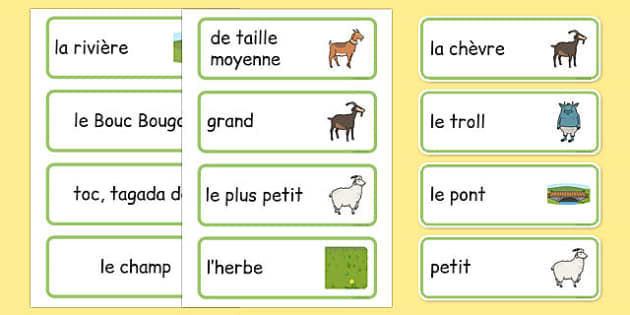 The Three Billy Goats Gruff Word Cards French - french, Three Billy Goats Gruff, traditional tales, word cards, tale, fairy tale, goat, billy goat, troll, sweet grass, bridge, flashcards