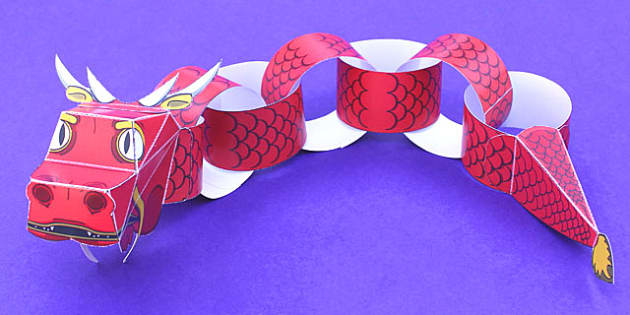 Chinese Dragon Paper Chain Craft - chinese, dragon, paper, craft