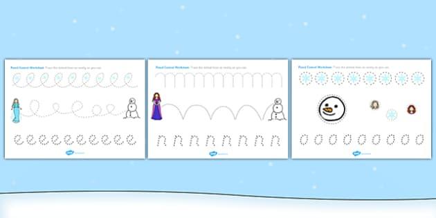 Winter Fairytale Pencil Control Worksheets - control, frozen