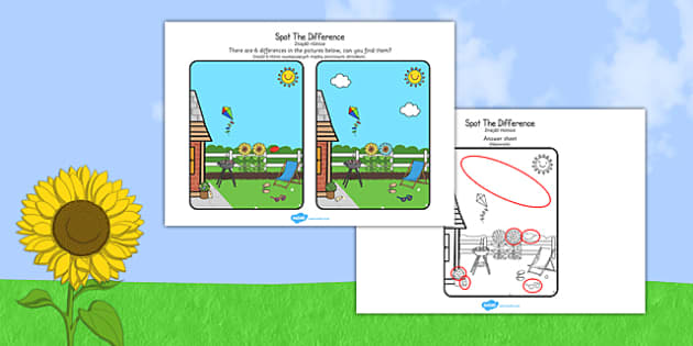 Summer Spot the Difference Activity Polish Translation - polish, seasons, activities, games