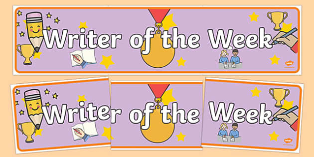 Writer of the Week Banner - writer of the week, writer of the week display banner, writer of th week display header, writing, good writing, writing award