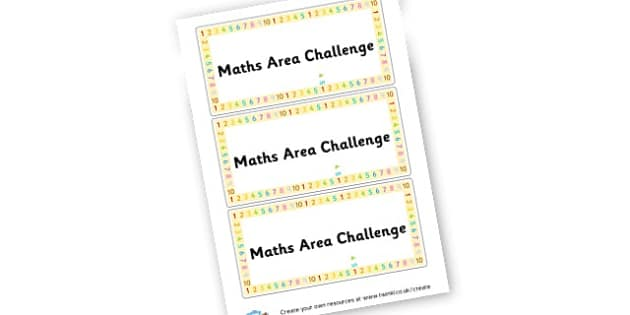 Maths Area Challenge Cards - Maths Area Primary Resources, maths is fun, signs, labels, areas