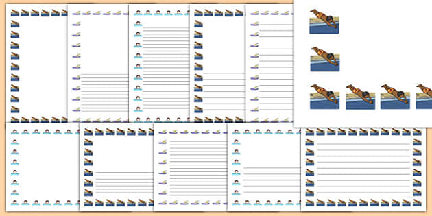 Swimming Page Borders Pack - swimming, swim, page borders, page, borders, pack