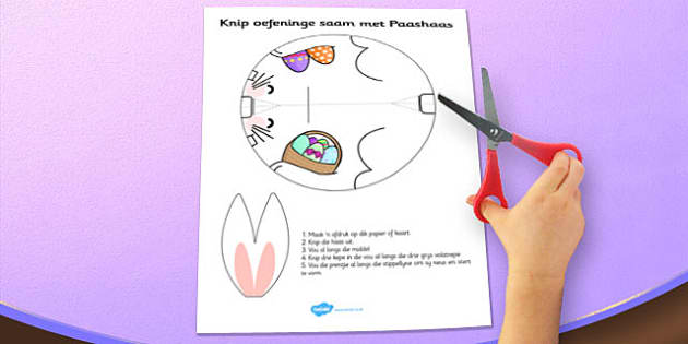 Afrikaans Easter Bunny Cutting Skills Craft Activity - afrikaans, easter, cut