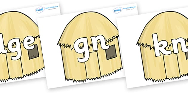 Silent Letters on Straw houses - Silent Letters, silent letter, letter blend, consonant, consonants, digraph, trigraph, A-Z letters, literacy, alphabet, letters, alternative sounds