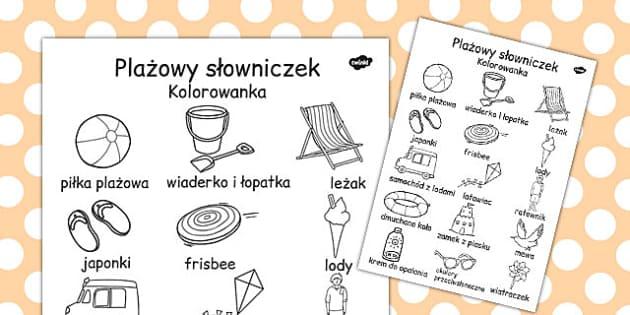 Kolorowanka slowniczek morski po polsku - dzieci , Polish