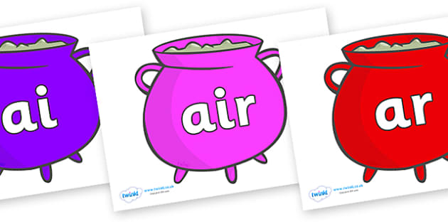 Phase 3 Phonemes on Cauldrons (Multicolour) - Phonemes, phoneme, Phase 3, Phase three, Foundation, Literacy, Letters and Sounds, DfES, display