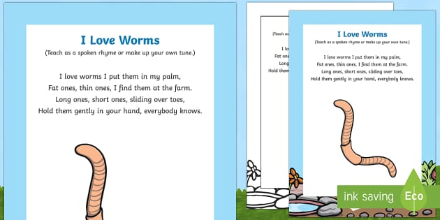 I Love Worms Rhyme - minibeasts, bugs, soil, creatures