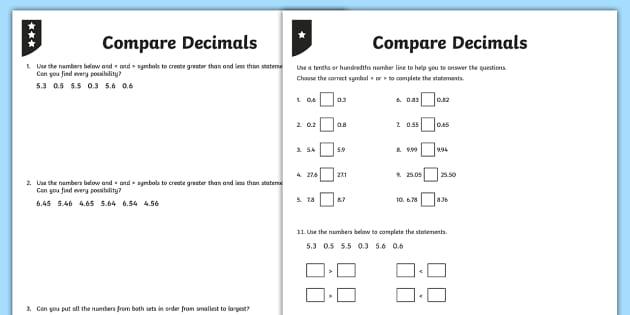 Comparing Decimals Differentiated Activity Sheets - decimals, decimal numbers, compare, comparing, one decimal place, 1 decimal place, two decimal place