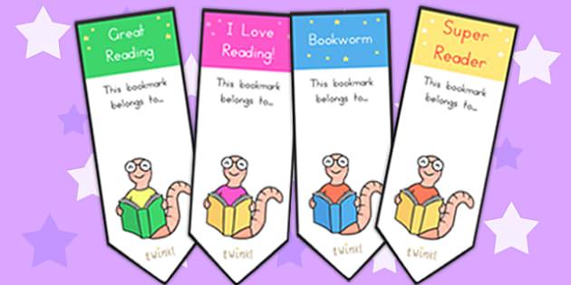 Editable Bookworm Bookmarks Editable - bookmarks, reading, read