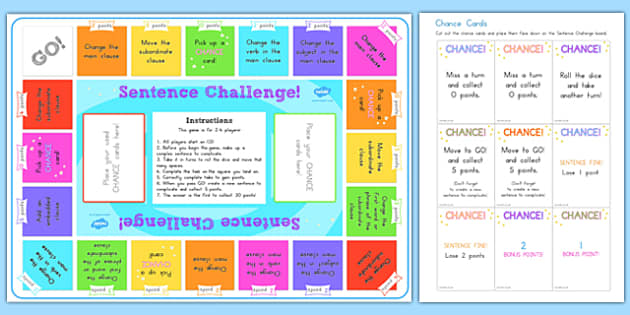 Complex Sentences Challenge Game - complex sentences, literacy