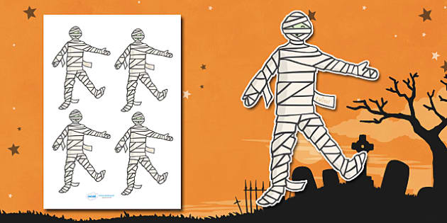Editable Halloween Mummy (Small) - Editable Halloween Mummy, small, mummy, display, poster, Halloween, pumpkin, witch, bat, scary, black cat, mummy, grave stone, cauldron, broomstick, haunted house, potion, Hallowe'en