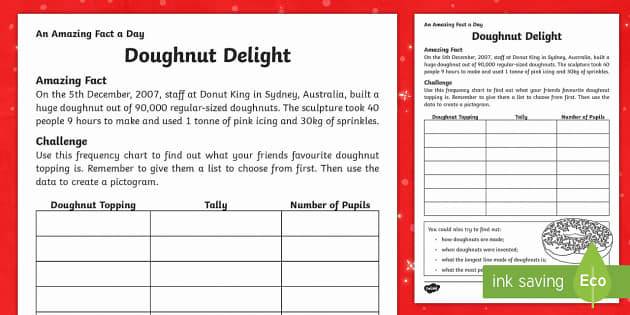 Delicious Donuts Activity Sheet - Amazing Fact Of The Day, activity sheets, powerpoint, starter, morning activity, December , pictogra